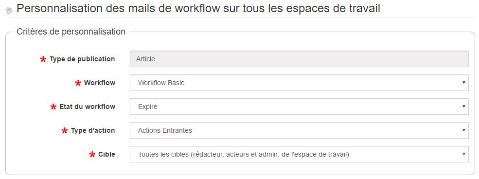 workflowcustommailerplugin modification des critères de personnalisation